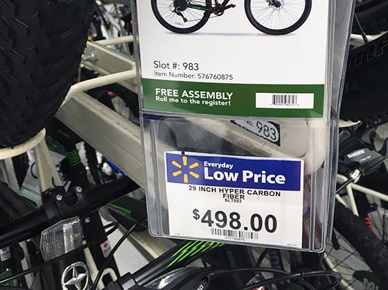 walmart bike price tag