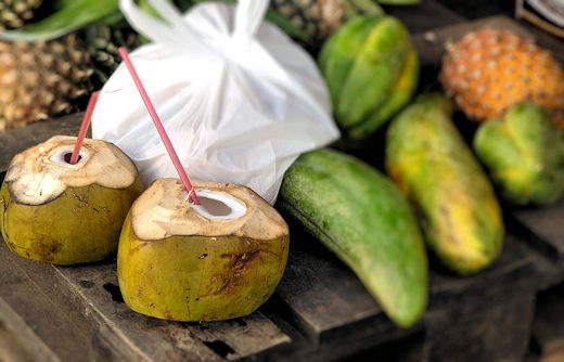 coconuts with straws